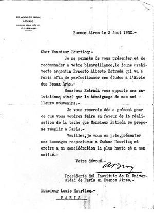 Carta de recomendación de Adolfo Bioy  [Colección familia Estrada]