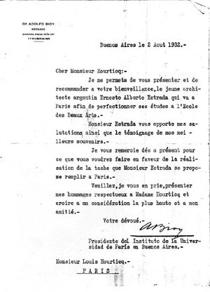Carta de recomendação de Adolfo Bioy [Colección familia Estrada]