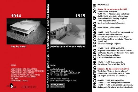Folder do evento, Encontro Núcleo Docomomo-SP 2015<br />Imagem divulgação