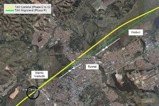 Ajustamento do traçado referencial em São José dos Campos [www.tavbrasil.gov.br]