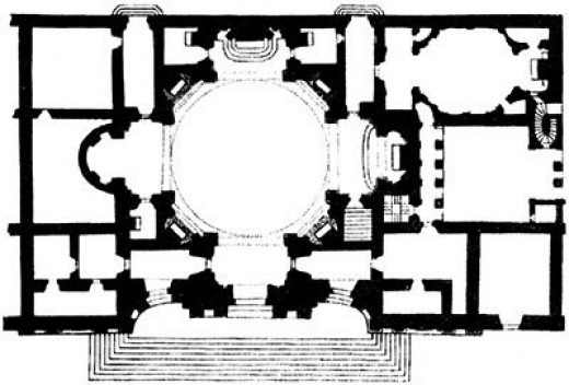 Planta da igreja de Santa Agnese, praça Navona, Roma