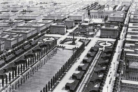 Die Gross-stadt, Viena, 1911, plano urbano de Otto Wagner [i>Designing the Modern City</i>]