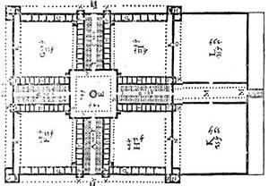 Figura 01 – Projeto para um hospital (Philibert Delorme, 1626) [PEVSNER, N.. História de las tipologias arquitectónicas. Barcelona: Gustavo Gili, 1980. p ]