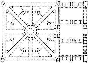 Figura 03 – Projeto para um hospital (Antoine Desgodets, final do século XVIII) [PEVSNER, N.. História de las tipologias arquitectónicas. Barcelona: Gustavo Gili, 1980. p ]