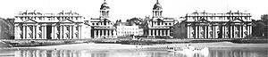 Figura 04 – Real Hospital Naval, Greenwich (Christopher Wren, 1694) [PEVSNER, N.. História de las tipologias arquitectónicas. Barcelona: Gustavo Gili, 1980. p ]