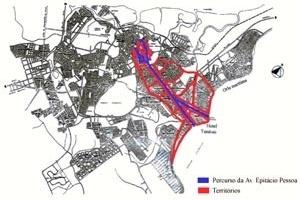 Percurso da Avenida Epitácio Pessoa e espaços territoriais