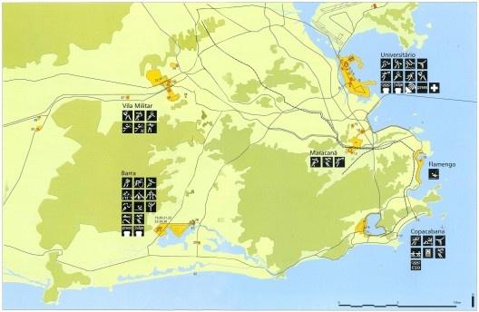 Mapa geral das instalações olímpicas na candidatura Rio 2004<br />Imagem divulgação  [Rio 2004, Rio de Janeiro candidate to host the XXVIII Olympic Games in 2004, v.2, 1996]