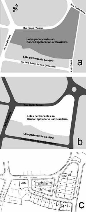 Figura 1. a) Situação inicial, com terreno de propriedade do Banco Hipotecário Lar Brasileiro. b) Arruamento proposto pela Prefeitura da Cidade do Recife c) Loteamento aprovado, projeto de Borsoi  [a) MELO, Ricardo Jorge Pessoa. A arquitetura do edifício na arquitetura da cidade. Um estu]