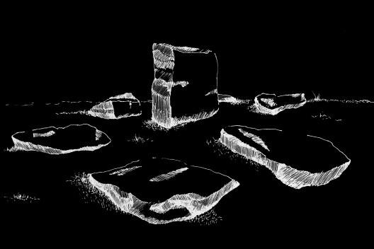 <i>As pedras de Smiljan  Radic</i><br />Desenho de Caroline Anseloni