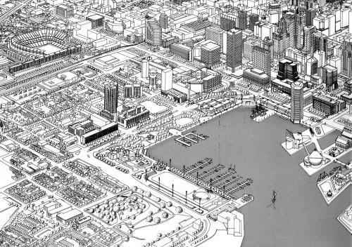 Figura 16 – Perspectiva geral de 1989, mostrando o existente e o projetado para o ano 2000, na área central e no Inner Harbor de Baltimore