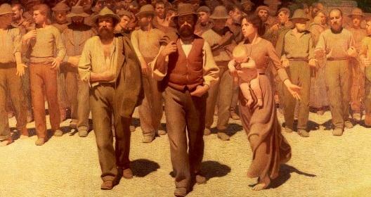 """""""O Quarto Estado"""", pintura de Giuseppe Pellizza da Volpedo, 1901 (detalhe)<br />Foto divulgação  [Museu do Novecento, Milão]"""