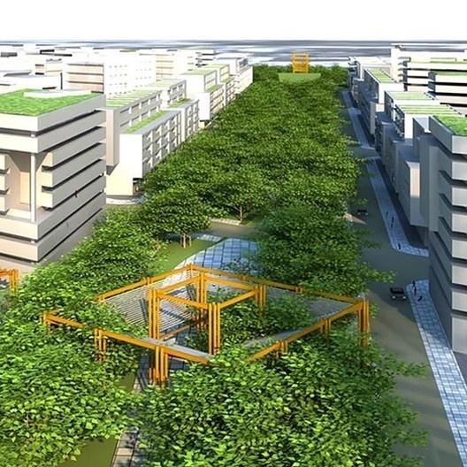 """Plano urbanístico """"Quartier Pelotas"""", Pelotas RS, 2012. Escritório Jaime Lerner Arquitetos Associados<br />Imagem divulgação  [website oficial do arquiteto]"""