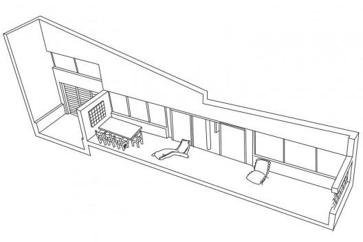 Residência Juscelino Kubistchek, varanda, Belo Horizonte. Arquiteto Oscar Niemeyer<br />Desenho Juliana Gomes