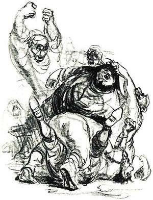 """Ilustração de Gerhart Kraaz, do livro """"Don Quixote de la Mancha"""", de Miguel de Cervantes Saavedra, Círculo do Livro, São Paulo"""