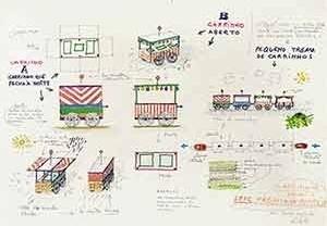 Carrinho de balas y dulces, mobiliário de Lina Bo Bardi, SESC Pompéia, 1985