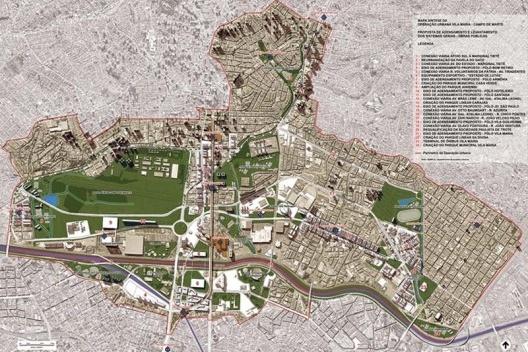 Operação Urbana Carandiru – Vila Maria. Plano-Referência de Intervenção e Ordenação Urbanística. Vista de conjunto da área de atuação