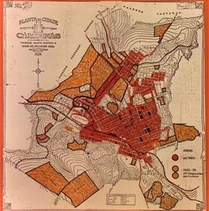 Figura 01 - Mapa de Campinas com loteamentos até 1900 e de 1925 até 1929 - desenho do Arquiteto Ricardo de Souza Campos Badaró sobre base de 1929 elaborada para servir aos estudos urbanísticos do Plano de Melhoramentos Urbanos de Campinas