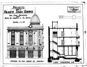Figura 04 -Elevação para a rua Barão de Jaguara do Palacete Souza de Queiróz<br />Foto Caio Ferreira  [Arquivo pessoal da H.N.Segurado]