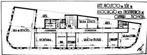 Figura 07 - Planta do 1° andar do anteprojeto para o edifício Sant'Anna  Sede da Associação dos Engenheiros de Campinas<br />Foto Caio Ferreira  [Arquivo Pessoal da H. N. Segurado]