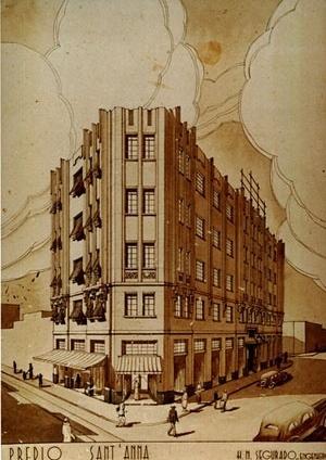Figura 09 - Perspectiva do anteprojeto para o edifício Sant'Anna [Arquivo Pessoal da H. N. Segurado]