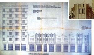Figura 11 - Elevação para a rua César Bierrembach do processo de aprovação/ Detalhe da perspectiva do anteprojeto da H. N. Segurado [COMDEPAHC/ Arquivo pessoal da H. N. Segurado]