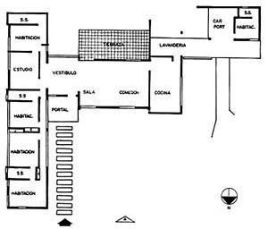 Esquema planimétrico de uma casa que manifesta a flexibilidade espacial e a segregação funcional, característica do Movimento Moderno