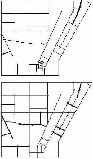 Figura 16. As linhas mais segregadas: a) situação real. b) situação simulada