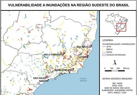 Vulnerabilidade s inundações na região Sudeste do Brasil<br />Elaboração dos autores