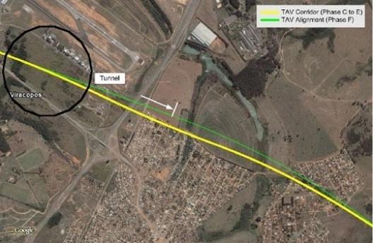 Ajustamento do traçado referencial nas proximidades do Aeroporto Internacional de Viracopos [www.tavbrasil.gov.br]