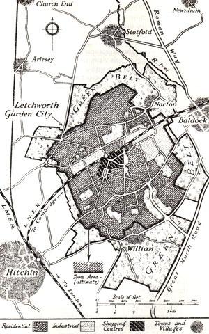 Figura 02 – Plano da cidade de Letchworth [livro Garden Cities of To-Morrow, MIT, 1965]