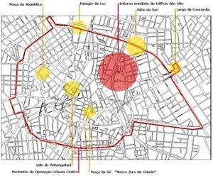 Localização do Edifício São Vito no Centro de São Paulo  [Diagnóstico Integrado e Participativo - Diagonal Urbana]