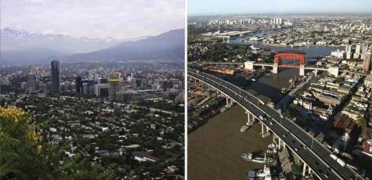 """À esquerda, Santiago do Chile; à direita, Buenos Aires<br />Fotos Camila Sepúlveda e Marc van Der  [livro """"Conquistar a Rua! Compartilhar sem Dividir""""]"""