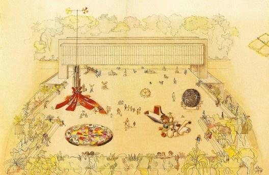 MASP por Lina Bo Bardi em 1968<br />Imagem divulgação / Instituto Bardi  [<i>Sutis substâncias da arquitetura</i>, de Olivia de Oliveira, Romano Guerra Editora, p.3]