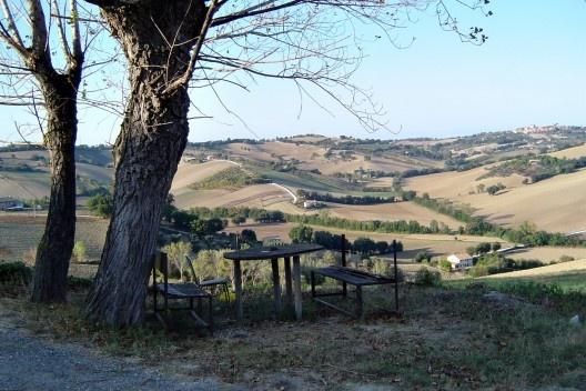 A paisagem rural típica da Região das Marcas (Marche) com uma área de repouso para caminhantes.<br />Foto M. Bocci