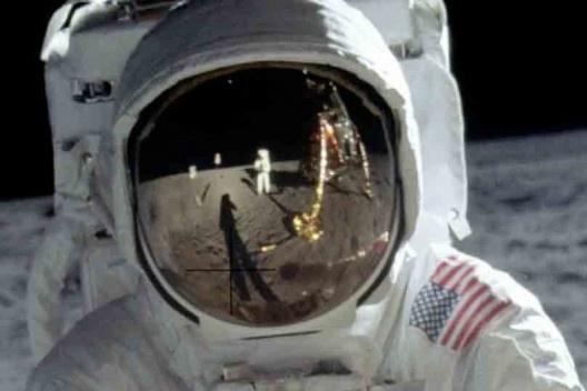 Edwin Aldrin no Mar da Tranquilidade na Lua, detalhe<br />Foto Neil Armstrong  [Nasa – National Aeronautics Space Administration]