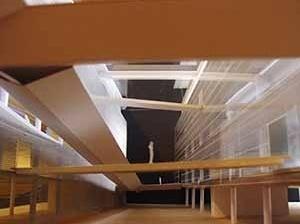 Maquete de estudo das conexões entre os edifícios