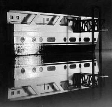 Peniche (conversão de navio em habitação). Maquete