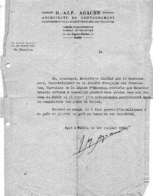 Certificado de Alfredo Agache sobre a colaboração de Estrada em seu escritório [Colección familia Estrada]