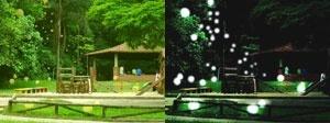 Esférica. Esferas, de dia e à noite, sobre o platô intermediário do parque