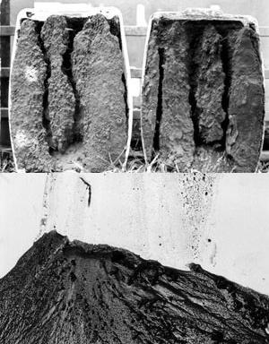 Fluxos. Erosão, experimentos 2 e 3, e deposição