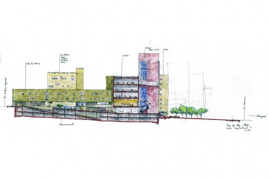 Praça das Artes, corte transversal do complexo, São Paulo. Escritório Brasil Arquitetura e arquiteto Marcos Cartum [Brasil Arquitetura]