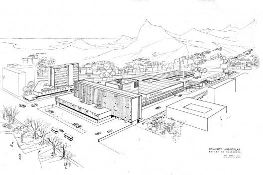 Perspectiva geral do conjunto Hospitalar, projeto de Garcia Roza [Acervo da familia de Garcia Roza]
