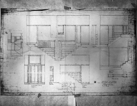 Emil Bach House, detalhe escadas, oeste e oeste, North Sheridan Road, Chicago, Estados Unidos, 1915. Arquiteto Frank Lloyd Wright<br />Desenho original  [Library of Congress / U.S. Government]