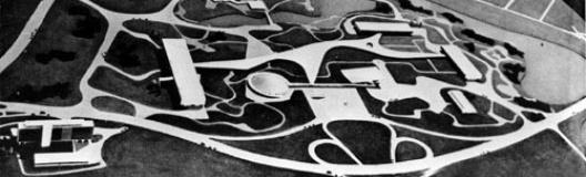 Foto da Maquete do projeto definitivo para o Parque, aprovado em 1953. Autor: Oscar Niemeyer e grupo [Acervo Divisão de Iconografia e Museus – DPH/SMC/PMSP]