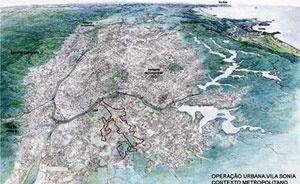 Operação Urbana Vila Sônia. Plano-Referência de Intervenção e Ordenação Urbanística. Posição e inserção metropolitana<br />Desenho V. Keating