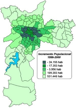Incremento Populacional por anéis – Município de São Paulo [IBGE]