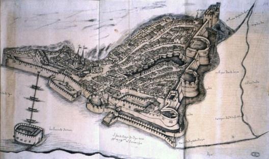 """""""Dio"""", ilustração existente nas Lendas da India (meados do séc. XVI) de Gaspar Correia  [Arquivo Nacional da Torre do Tombo em Lisboa]"""
