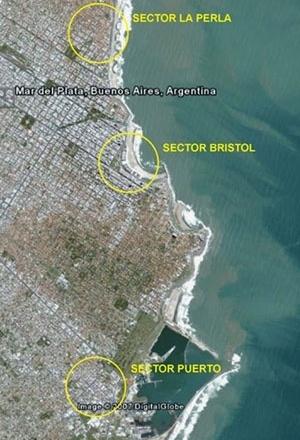 Imagen 1. Se señalan los sectores nombrados [Google Earth, 5/7/07]