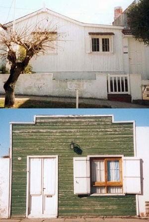 Imagen 6. En la foto superior, una casilla revestida en chapa; en la inferior, una casilla revestida en madera. Ambas conservadas en estado original [levantamento pessoal]