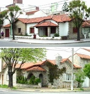 """Imagen 13. Chalets modestos """"estilo Mar del Plata"""" en La Perla, donde pueden observarse las materialidades (como la utilización de la piedra """"Mar del Plata"""") y las características principales desarrolladas en parcelas en esquinas [levantamento pessoal]"""